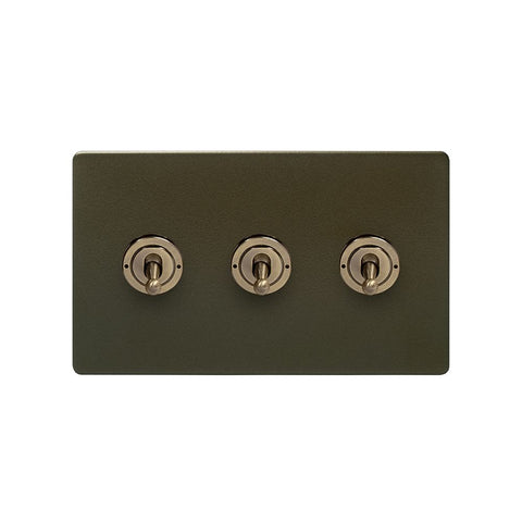 Screwless Bronze 20A 3 Gang 2 Way Toggle Light Switch