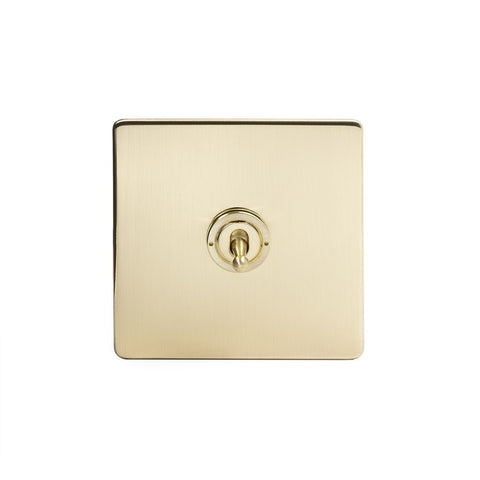 Screwless Brushed Brass 1 Gang Retractive Toggle Light Switch