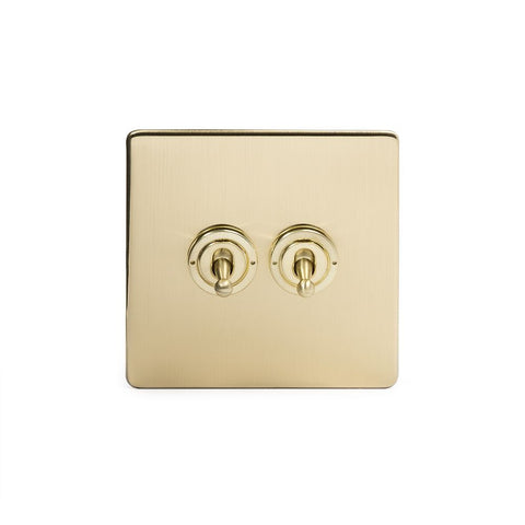 Screwless Brushed Brass 2 Gang Retractive Toggle Light Switch - Black