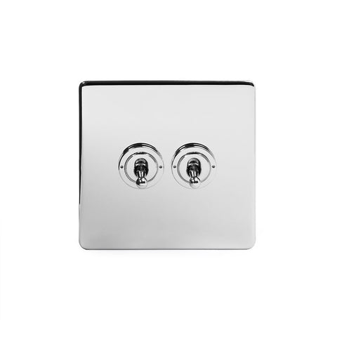 Screwless Polished Chrome 2 Gang Retractive Toggle Light Switch