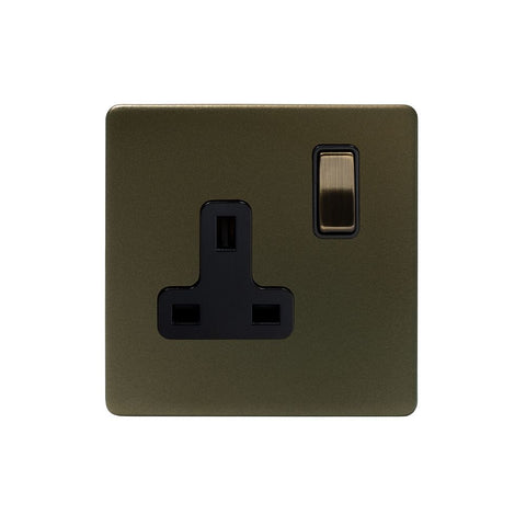 Screwless Bronze 13A 1 Gang Switched Plug Socket- DP