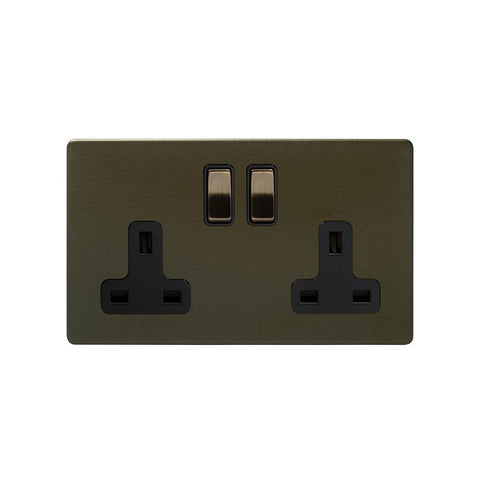 Screwless Bronze 13A 2 Gang Switched Plug Socket- DP