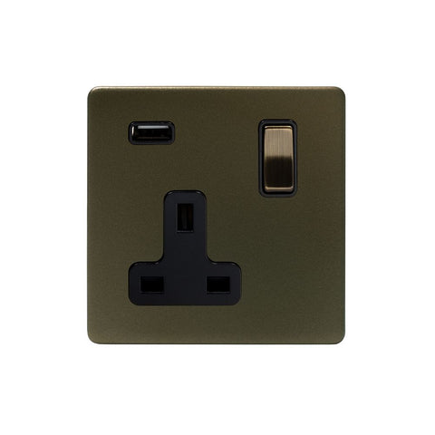 Screwless Bronze 13A 1 Gang DP USB Plug Socket (USB 2.1amp)