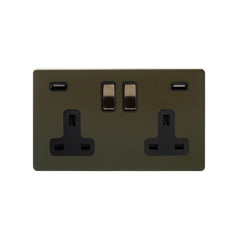 Screwless Bronze 13A 2 Gang DP USB Plug Socket (USB 4.8amp)