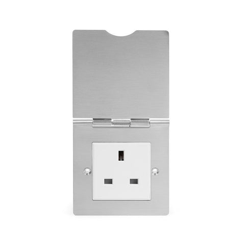 Screwless Brushed Chrome 13 Amp Euromod Floor Outlet Socket 1 Gang