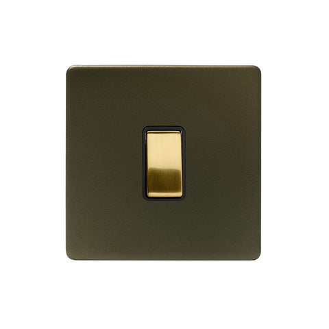Screwless Fusion Bronze & Brushed Brass 10A 1 Gang 2 Way Light Switch Black Trim