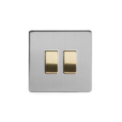 Screwless Fusion Brushed Chrome & Brushed Brass 10A 2 Gang 2 Way Light Switch White Trim