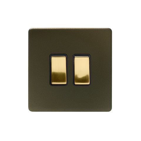 Screwless Fusion Bronze & Brushed Brass 10A 2 Gang 2 Way Light Switch Black Trim
