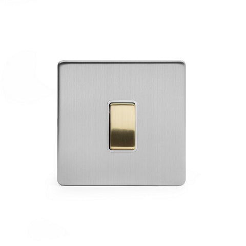 Screwless Fusion Brushed Chrome & Brushed Brass 10A 1 Gang Intermediate Light Switch White Trim