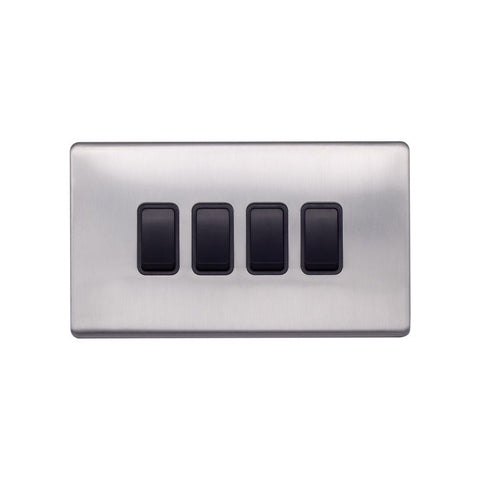 Screwless Raised - Brushed Chrome 10A 4 Gang 2 Way Light Switch - Black Trim