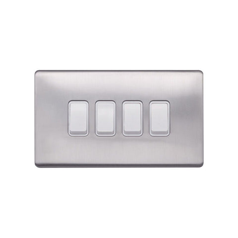 Screwless Raised - Brushed Chrome 10A 4 Gang 2 Way Light Switch - White Trim