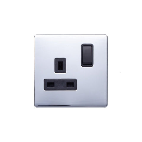 Screwless Raised - Polished Chrome 13A 1 Gang Switched Plug Socket, Double Pole - Black Trim