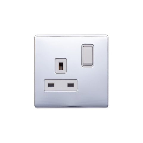 Screwless Raised - Polished Chrome 13A 1 Gang Switched Plug Socket, Double Pole - White Trim