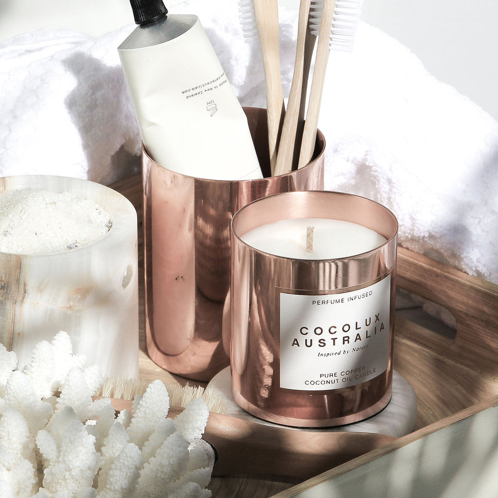 COCOLUX | LEATHER, TUBEROSE & DRIFTWOOD - 225G SOL COPPER CANDLE