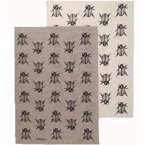 Black Christmas Beetle Linen tea towel