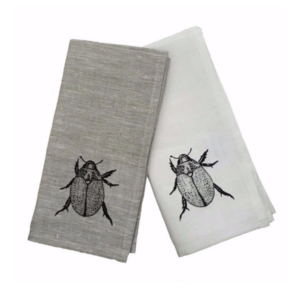 Black Christmas Beetle linen napkins