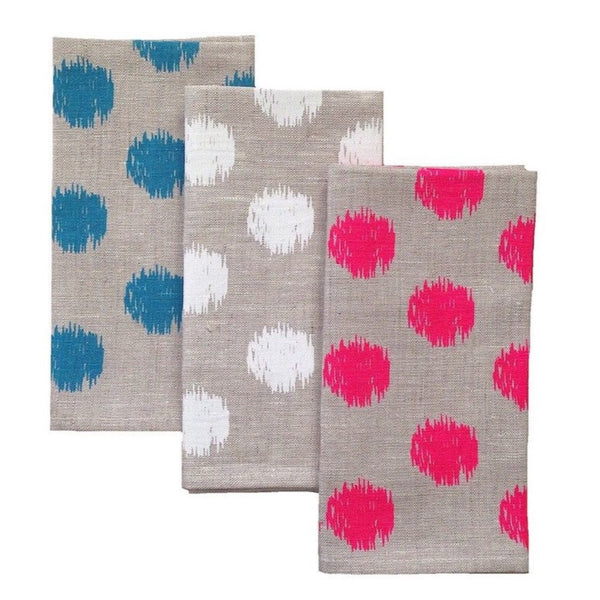 Ikat spot natural linen napkins (set of 4)