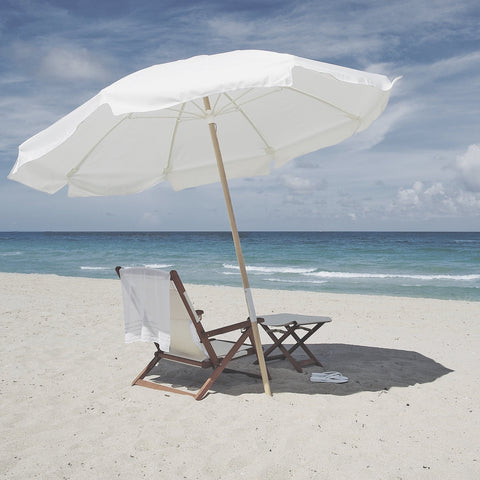 umbrella shade at beach with chair