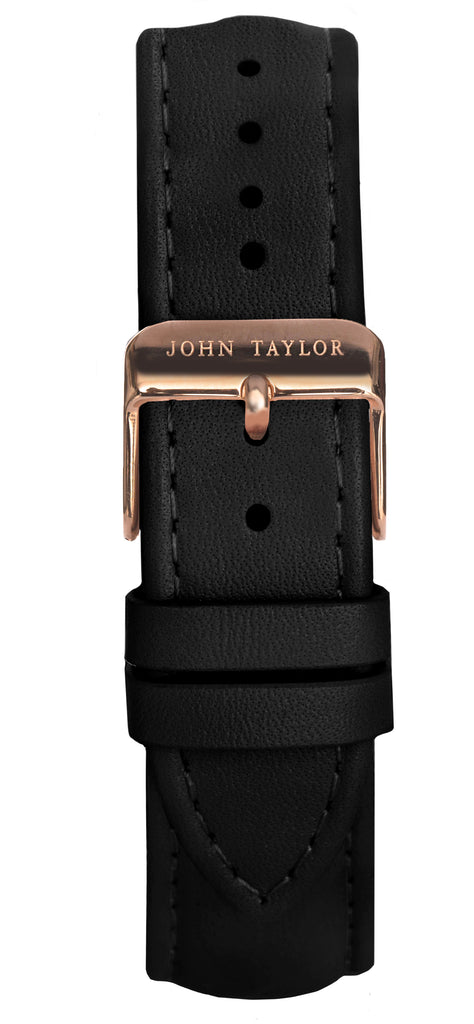 Black & Rose Stitched - John Taylor Watches