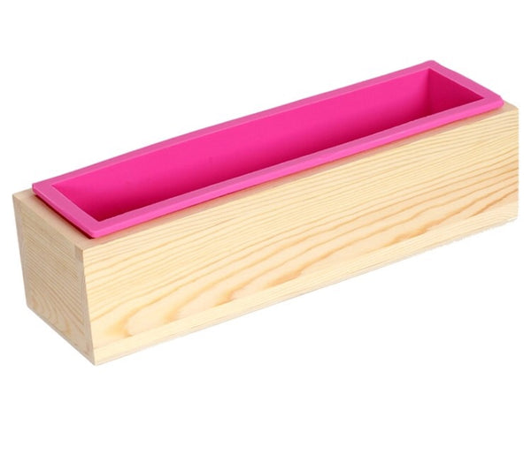 Rectangular Silicon Soap Mold with Wood Box 900g