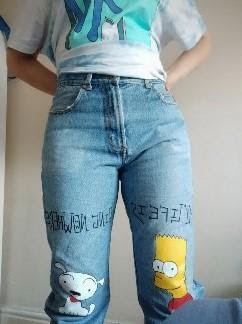 Bart Simpson & Snoopy - Painted jeans by Koo Style