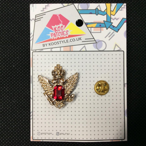 MP0003 - Red Jewel Gold Crown Emblem Metal Pin Badge
