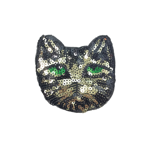 PC3657 - Sequin Green Eyed Cat Head (Sew On)