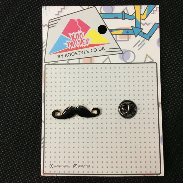 MP0169B - Black Gold Moustache Metal Pin Badge