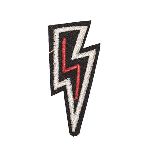 PC2339 - Black White Red lightning Bolt (Iron on)
