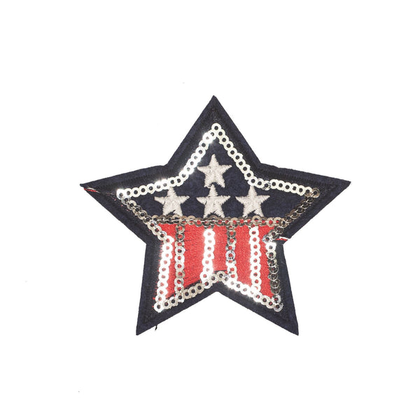 PT490B - Sequin USA Star Silver