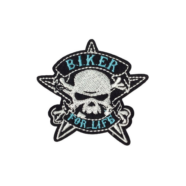 PC3678 - Biker For Life Skull (Iron On)