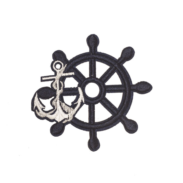 PC2279 - Navy Rudder with Sliver Anchor (Iron on)