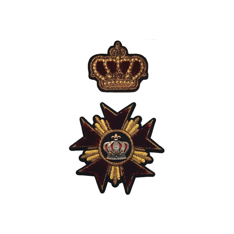 PC4160 - Red Star Crown Emblem (Iron On) (TWO PIECE SET)