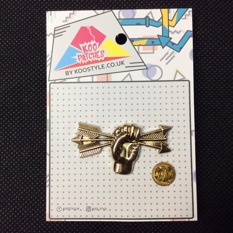 MP0001 - Gold Hand Crushing Arrow Metal Pin Badge