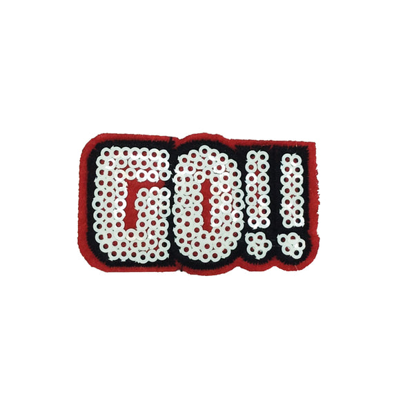 PC2952 - GO Pink Red Sequin Text (Iron On)