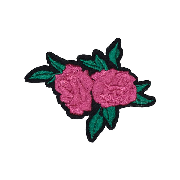 PC2986 - Double Pink Rose Flower with Leaves (Iron On)