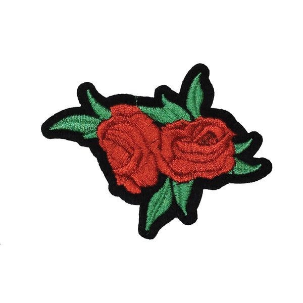 PC2987 - Red Double Rose Flower with green leaves (Iron On)