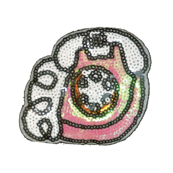 PC3052 - Sequin Pink White Telephone (Iron On)