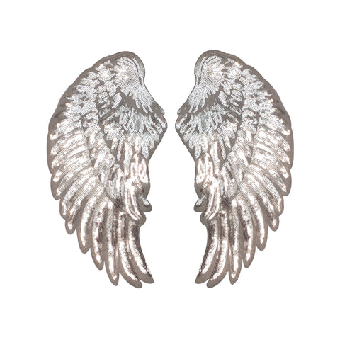 PC3100F - Super Sequin Silver White Wings XXL (Iron On)