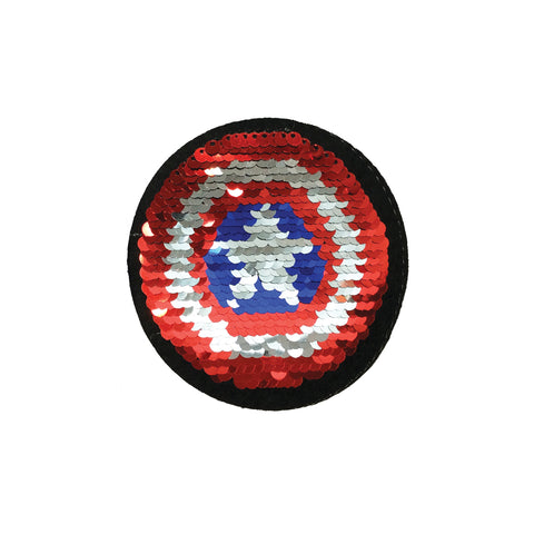 PC3342B - Reversible Double Gold Sequin Captain America Shield S (Iron On)