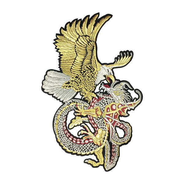 PC3472 - Gold Eagle Silver Dragon Fight Flight XXL (Iron On)