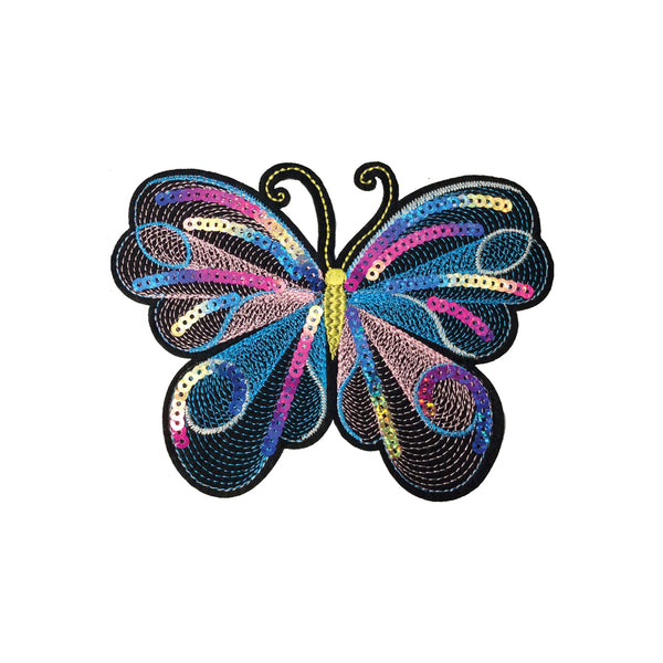 PC3474D - Sequin Swirl Multi Colour Butterfly (Iron On)