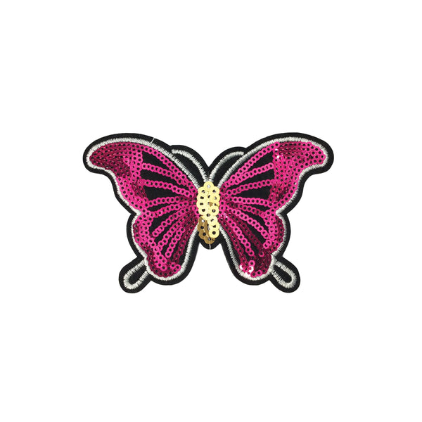 PC3816 - Sequin Deep Pink Butterfly (Iron On)