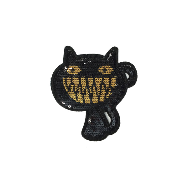 PC3896 - Sequin Cheshire Grin Black Cat (Iron On)