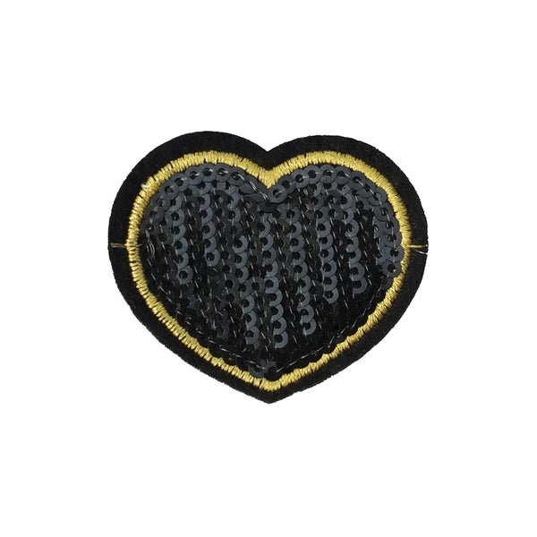PC3941 - Small Sequin Black Heart (Iron On)