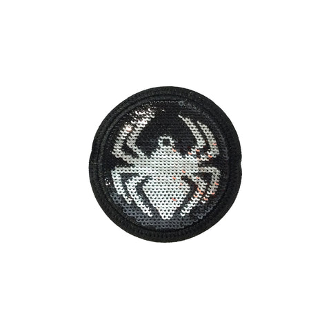 PC3943 - Sequin Silver Black Spiderman Logo (Iron On)
