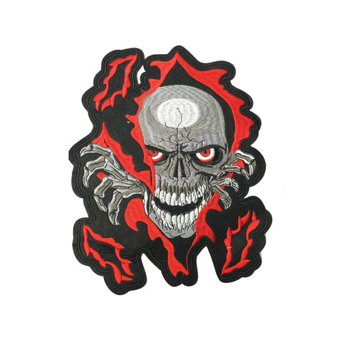 PC3975 - Skull In Red Fire Cloak (Iron On)