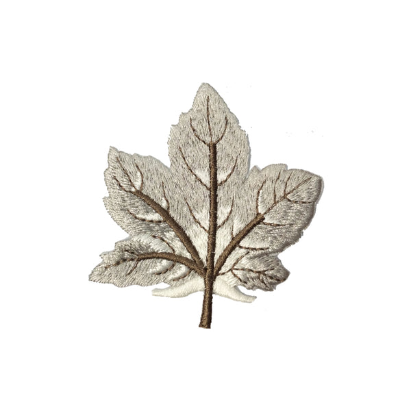 PC4000B - Winter Leaf White Grey Leaves (Iron On)