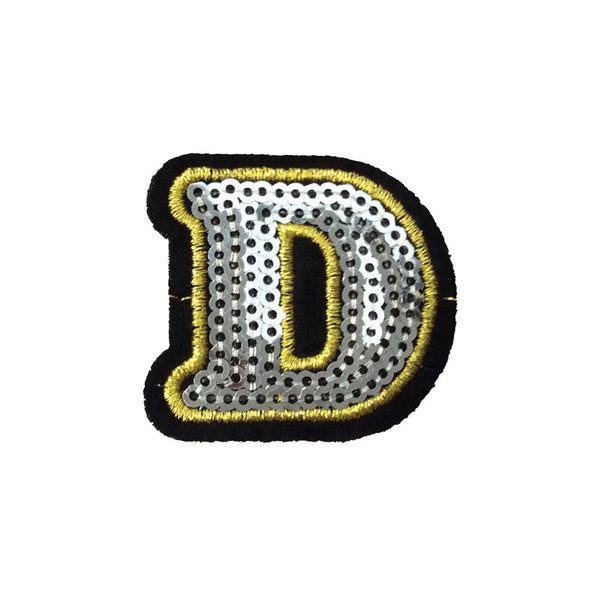 PC4001D - Sequin Silver Letter D (Iron On)