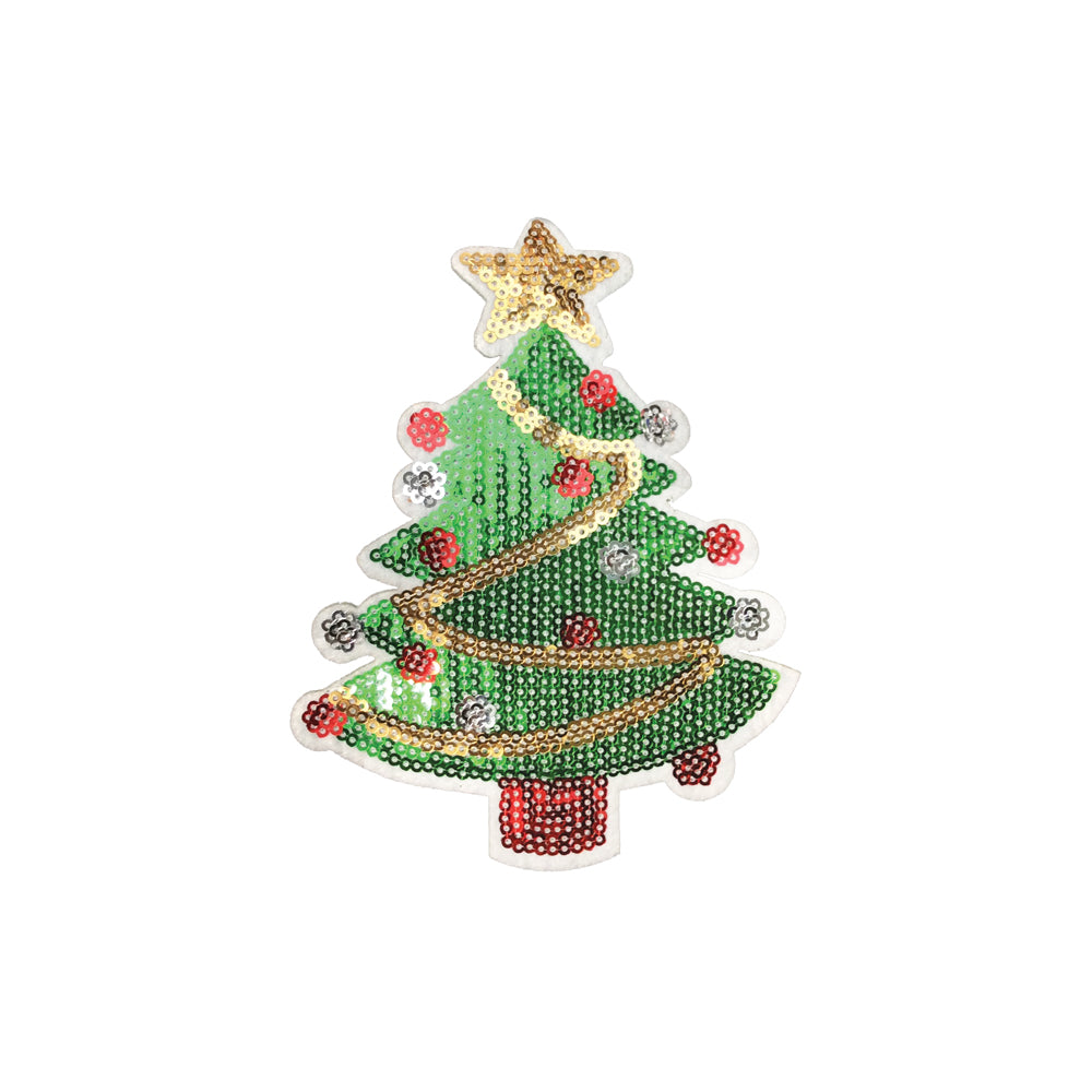 Christmas Tree Green /& Red Sequins Iron On Applique Patch